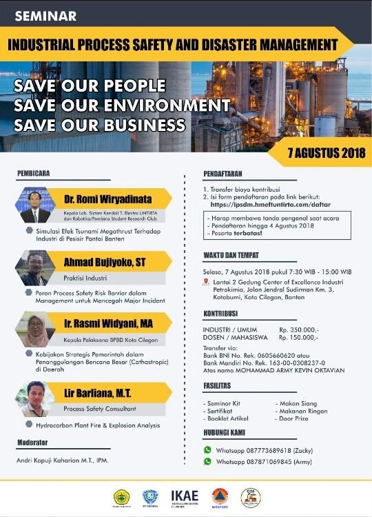 Ayo Ikuti Seminar Nasional Industrial Process Safety and Disaster Management